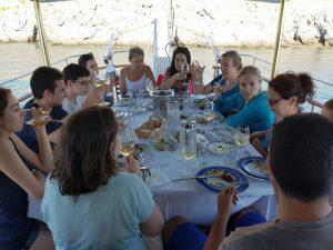Dining aboard AMANDA in Greece