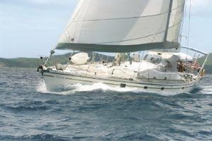 yacht Anahita under full sail