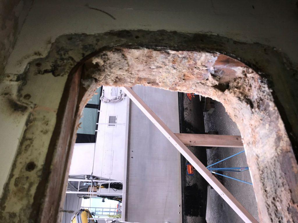 Ports removed to be restored revealed more rot