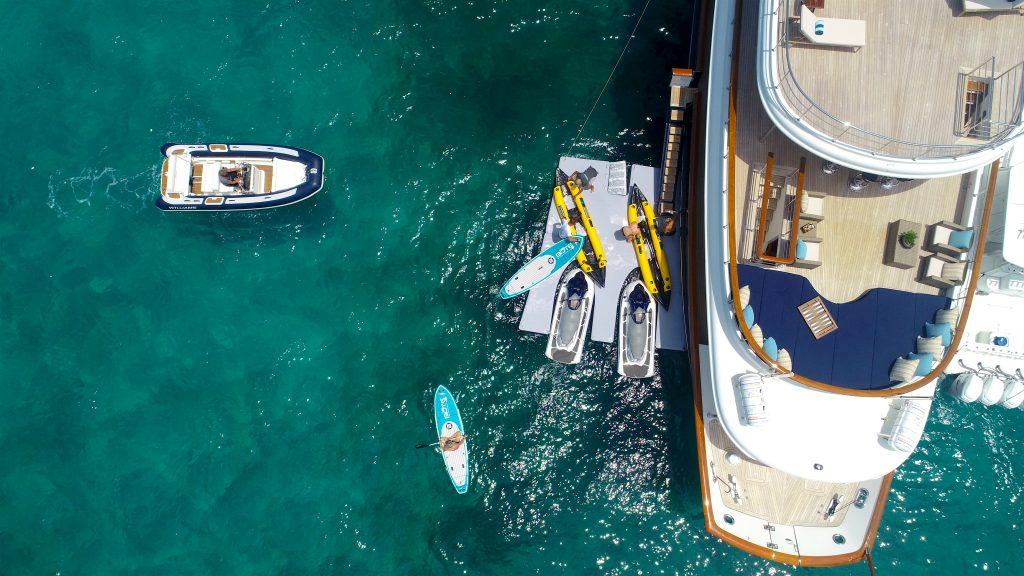 Charter yacht equipped with watersports