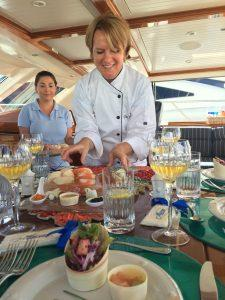 Yacht chef prepares the meals and menus for yacht charter