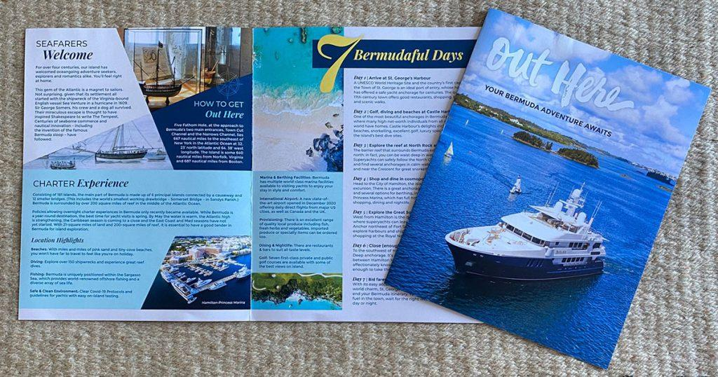 """""""Out Here. Your Bermuda Adventure Awaits"""" New brochure from the Bermuda Tourism Authority promoting yacht vacations."""