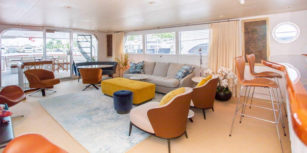97' Burger motor yacht SOVEREIGN mid-century modern interior.