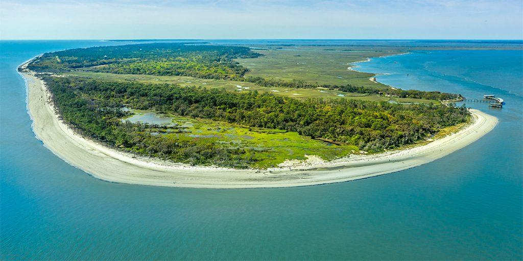 Aerial view of Jekyll Island, one of the Golden Isles of Georgia